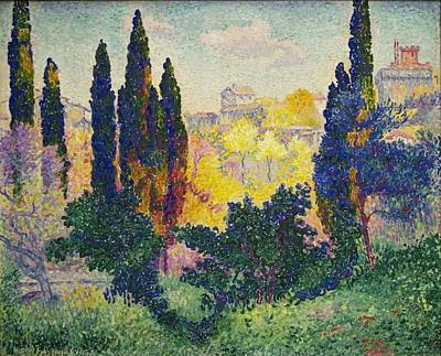 Art Print featuring the painting Henri Edmond Cross French Les Cypres A Cagnes by Artistic Panda