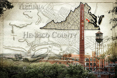 Photograph - Henrico County Travel Map by Sharon Popek