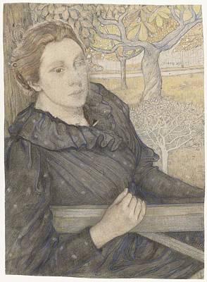 Henriette Van Der Schalk In A Garden In Noordwijk Art Print by Richard Roland Holst