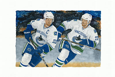 Vancouver Canucks Painting - Henrik And Daniel Sedin by Glen Green