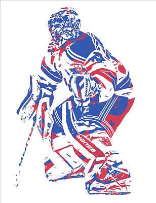 New York Rangers Mixed Media - Henrik Lundqvist New York Rangers Pixel Art 1 by Joe Hamilton