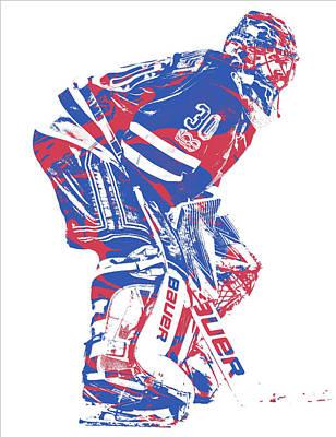 New York Rangers Mixed Media - Henrik Lundqvist New York Rangers Pixel Art 3 by Joe Hamilton