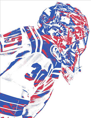 New York Rangers Mixed Media - Henrik Lundqvist New York Rangers Pixel Art 4 by Joe Hamilton