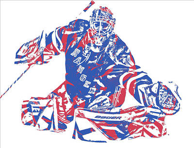 New York Rangers Mixed Media - Henrik Lundqvist New York Rangers Pixel Art 5 by Joe Hamilton