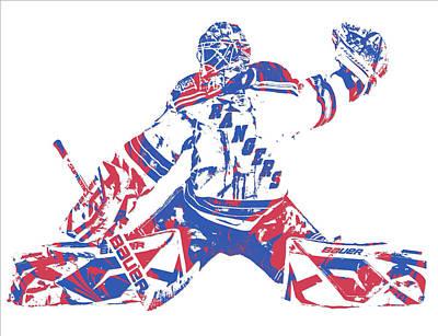 New York Rangers Mixed Media - Henrik Lundqvist New York Rangers Pixel Art 6 by Joe Hamilton