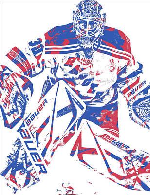 New York Rangers Mixed Media - Henrik Lundqvist New York Rangers Pixel Art 7 by Joe Hamilton