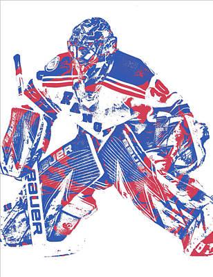 New York Rangers Mixed Media - Henrik Lundqvist New York Rangers Pixel Art 8 by Joe Hamilton