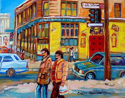 Montreal Winterscenes Painting - Henry Birks On St Catherine Street by Carole Spandau