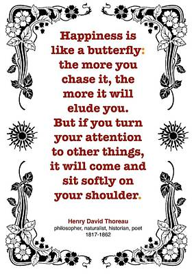 Henry David Thoreau About Happiness Art Print