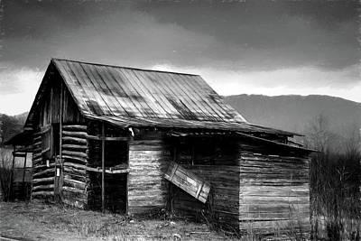 Photograph - Henry Davis Log Barn In Charcoal by Carol Montoya