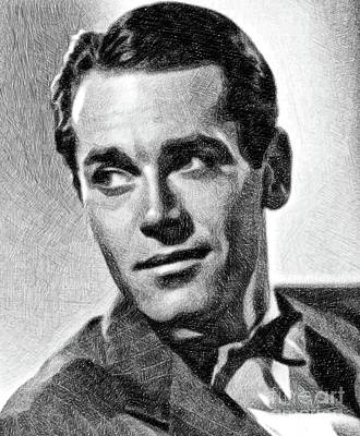Musicians Drawings - Henry Fonda, Vintage Actor By JS by Esoterica Art Agency