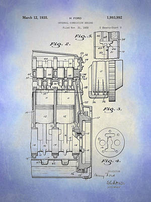 Digital Art - Henry Ford Engine Patent Sh2 Blue by David King