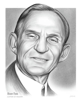 Ford Automobiles Drawing - Henry Ford by Greg Joens