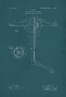 Drawing - Henry Ford Steering Wheel Patent Print by David Holm