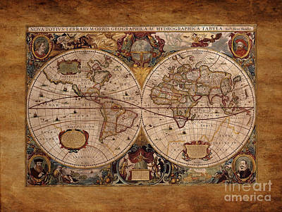 Drawing - Henry Hondius Seventeenth Century World Map by Skye Ryan-Evans