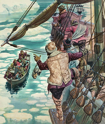 Henry Hudson Being Set Adrift Art Print by Peter Jackson
