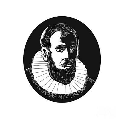 Henry Hudson Explorer Woodcut Art Print by Aloysius Patrimonio