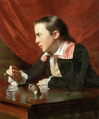 Wood Desk Painting - Henry Pelham Boy With A Squirrel by John Singleton Copley