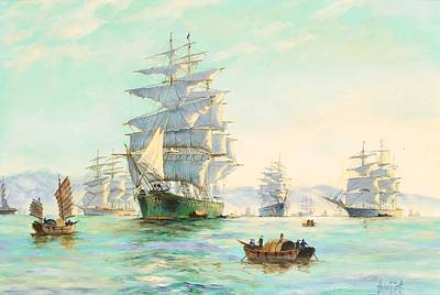 Ceramics Painting - Tranquil Morning - Foochow, The Famous Clipper Thermopylae At Anchor by Henry Scott