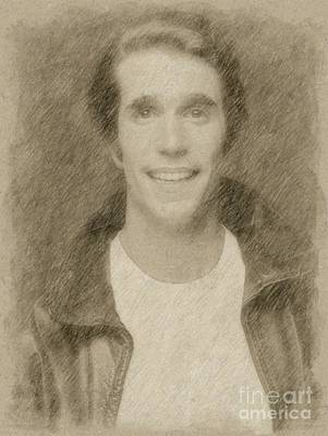 Pinup Drawing - Henry Winkler, The Fonz, Happy Days by Frank Falcon