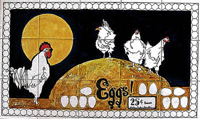 Barnyard Digital Art - Hens And Eggs And A Rooster by Shirley Sykes Bracken