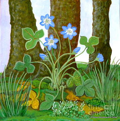 Folkartanna Painting - Hepatica In Bloom by Anna Folkartanna Maciejewska-Dyba