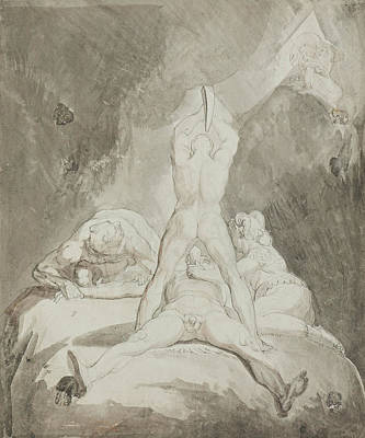 Swiss Drawing - Hephaestus Bia And Crato Securing Prometheus On Mount Caucasus by Henry Fuseli