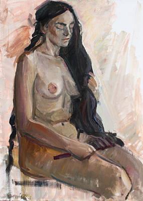 Painting - Her Black Hair by Juliya Zhukova