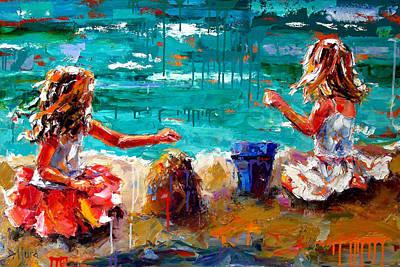 Wall Art - Painting - Her Blue Bucket by Debra Hurd
