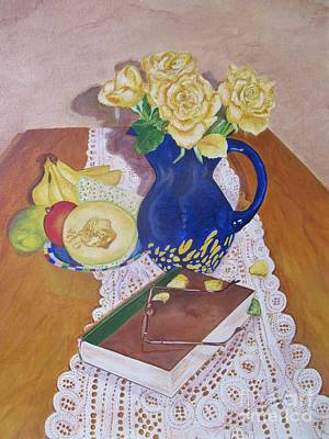 Beige Glass Painting - Her Book by Graciela Castro