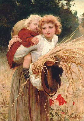 Hay Rides Painting - Her Constant Care by Frederick Morgan