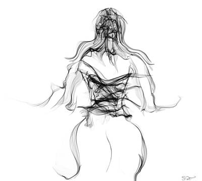 Her Dangerous Curves In A Corset Print by Abstract Angel Artist Stephen K