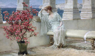 Her Eyes Are With Her Thoughts And They Are Far Away Art Print by Sir Lawrence Alma-Tadema