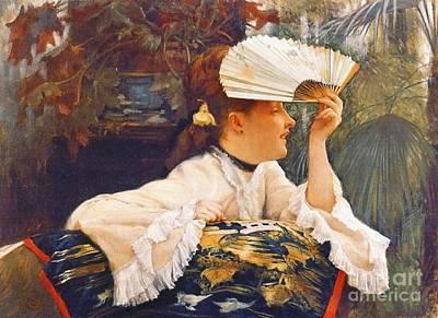 Her Fan 1875 Art Print by Padre Art