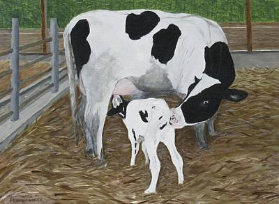 Painting - Her First Calf by Barb Pennypacker
