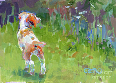 Puppies Painting - Her First Point by Kimberly Santini