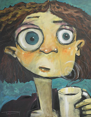Painting - Her First Sip Of Coffee by Tim Nyberg