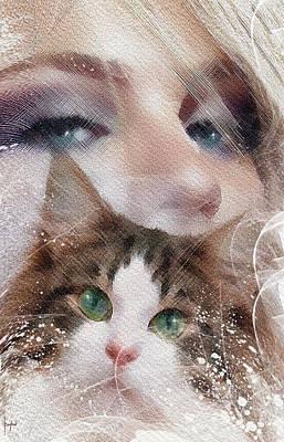 Watercolor Pet Portraits Digital Art - Her Love  by Boghrat Sadeghan