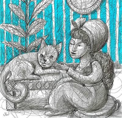 Drawing - Her Pampered Pet by June Walker