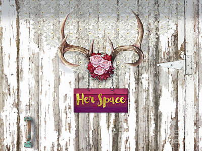 Old Barns Painting - Her Space, Deer Antlers, Flowers, Santa Fe Cottage Style by Tina Lavoie