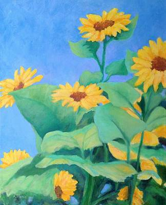 Painting - Her Sunflower Garden Original Oil Painting Of Sunflowers by Elizabeth Sawyer
