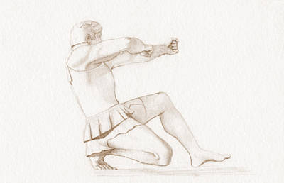 Aegina Drawing - Heracles The Archer Of Aegina Sepia by Stevie the floating artist