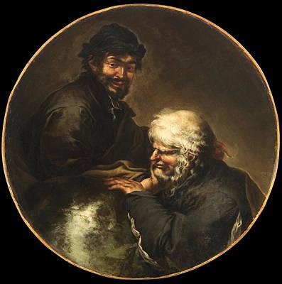 Heraclitus And Democritus Print by Salvator Rosa