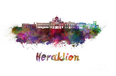 Greece Watercolor Painting - Heraklion Skyline In Watercolor by Pablo Romero