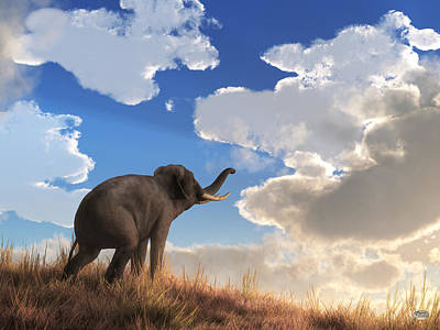Elephants Digital Art - Heralding The Dawn by Daniel Eskridge
