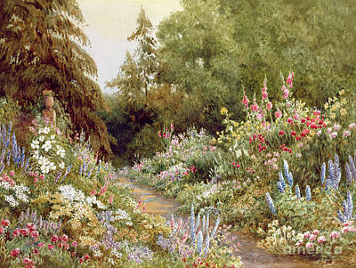 Spring Scenes Painting - Herbaceous Border  by Evelyn L Engleheart