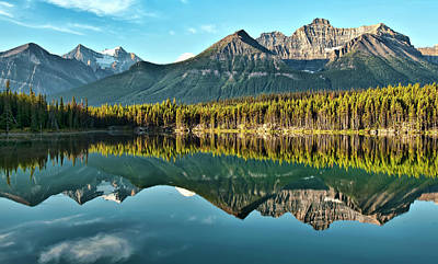 Travel Photograph - Herbert Lake - Quiet Morning by Jeff R Clow