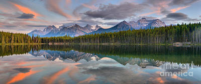 Photograph - Herbert Lake Sunset Panorama by Adam Jewell
