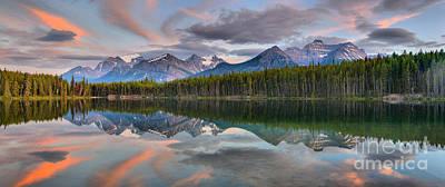 Photograph - Herbert Lake Sunset Panorama by Adam Jewell