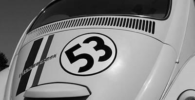 Herbie The Love Bug B W Art Print